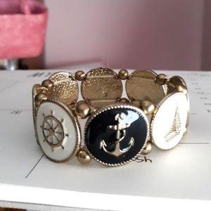 Jewelry - Sailor Enamel Goldtone Metal Stretch Bracelet